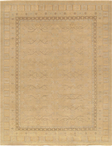 Hand-Knotted Khotan Wool Beige Area Rug