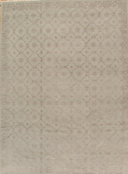 Hand-Knotted Khotan Lamb's Wool Light Grey Rug