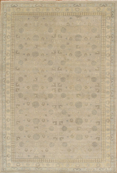 Hand-Knotted Khotan Lamb's Wool Grey Rug