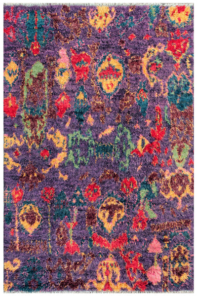 Hand-Knotted Purple Moroccan Area Rug