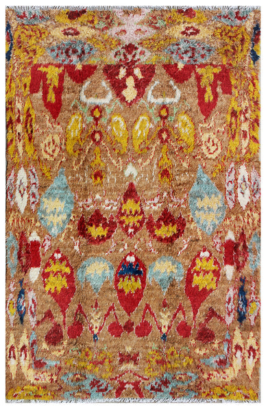 Hand-Knotted Moroccan Camel Area Rug