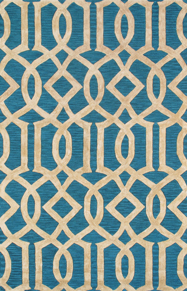 Hand-Tufted Viscose Silk & Wool Teal Blue Rug