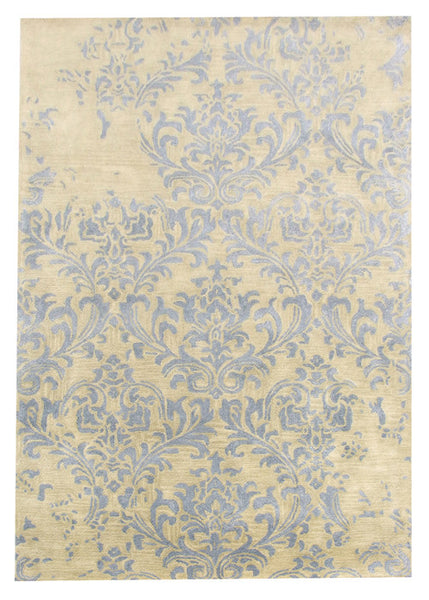 Hand-Tufted Viscose Silk & Wool Blue Area Rug