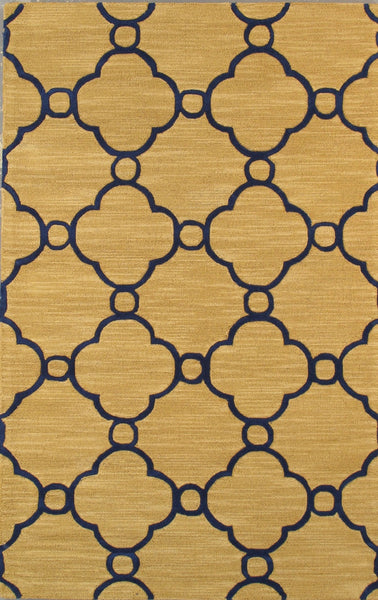 Hand-Tufted Lamb's Wool Gold/Navy Area Rug