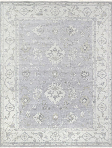 Hand-Knotted Oushak Grey Wool Area Rug