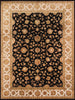 Hand-Knotted Black Agra Design Area Rug