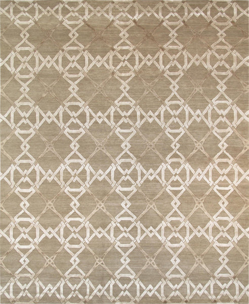 Modern  Hand-Knotted Silk & Wool Area Rug