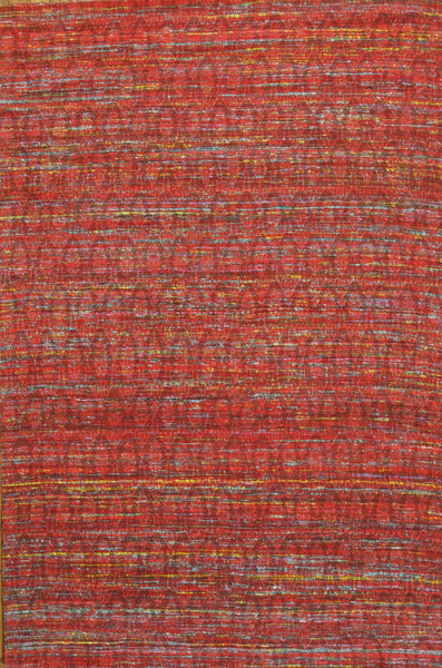 Hand-Loomed Modern Sari Silk Red Area Rug