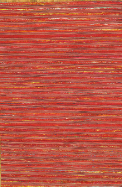 Hand-Loomed Sari Silk Red Area Rug