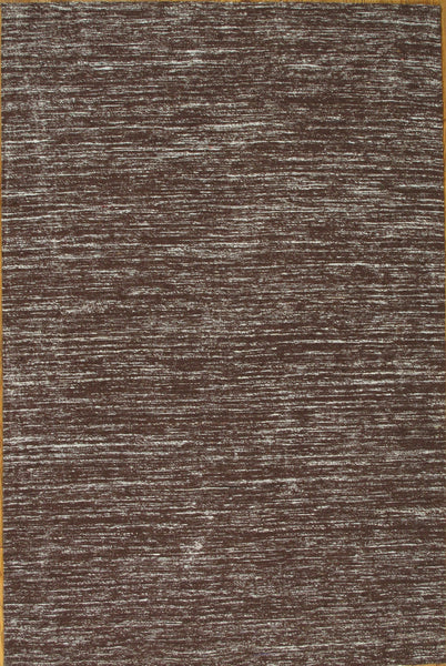Hand-Loomed Modern Sari Silk Brown Rug