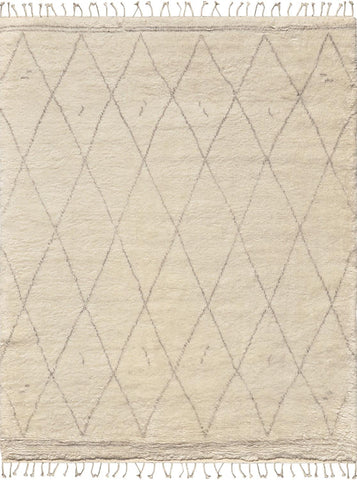 Hand-Knotted Ivory Shaggy Lamb's Wool Area Rug
