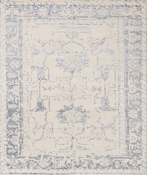 Hand-Knotted Beige Bamboo Silk Silver Area Rug