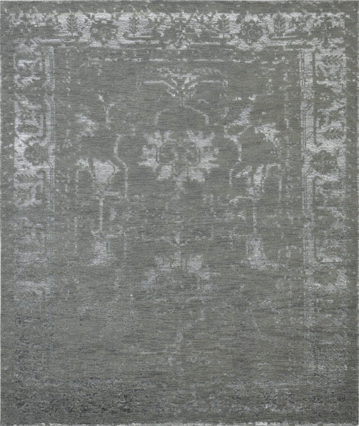 Hand-Knotted Grey Transitional Silk Area Rug