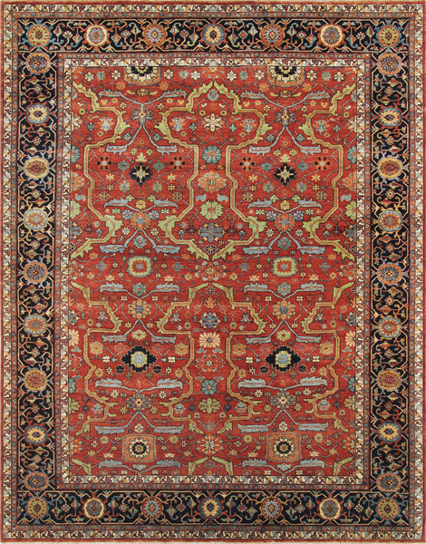 Hand-Knotted Ferahan Lamb's Wool Rust Area Rug