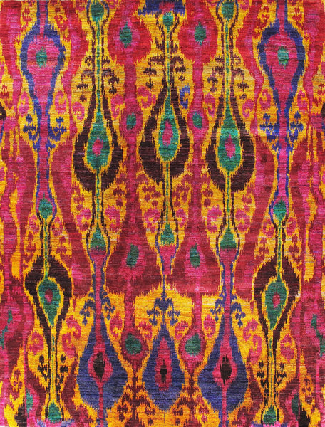 Hand-Knotted Sari Silk Multi Color Rug