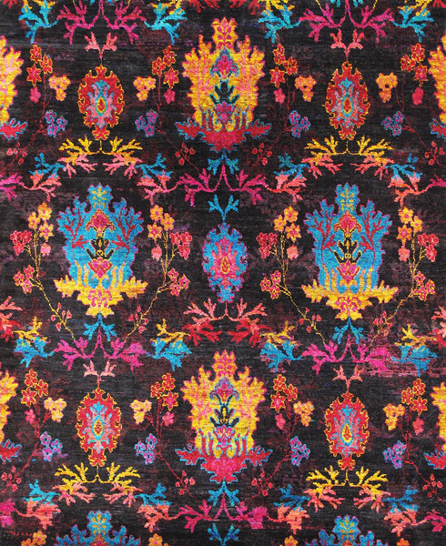 Hand-Knotted Sari Silk Ikat Design Area Rug