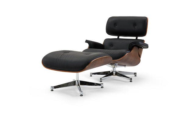 Florence Black Leather Lounge Chair & Ottoman