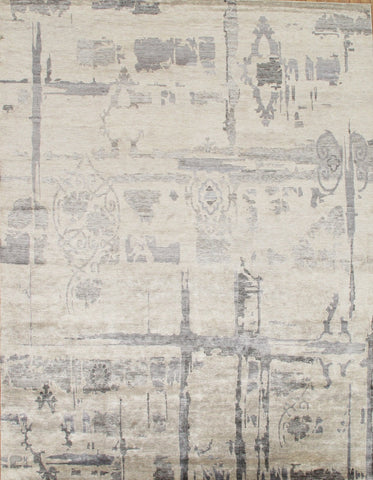 Hand-Knotted Bamboo Silk Grey/Ivory Area Rug