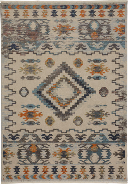 Madu Gray/Light Blue Machine Made Area Rug
