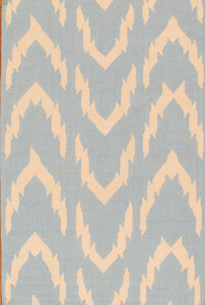 Hand-Woven Kilim Ivory/Blue Wool Area Rug