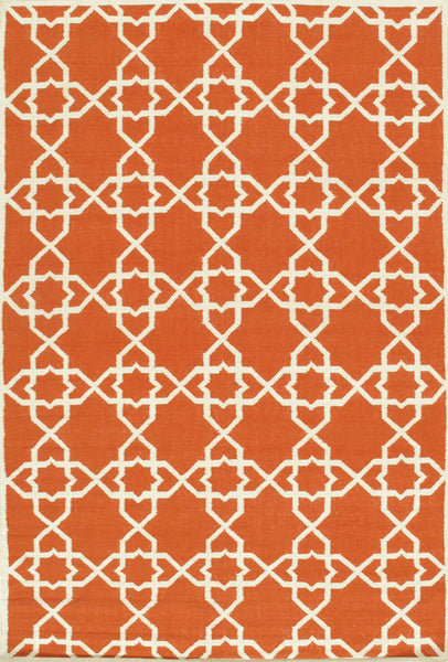 Hand-Woven Kilim Coral Lamb's Wool Area Rug