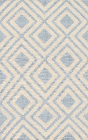 Hand-Woven Kilim Ivory/Light Blue Wool Rug