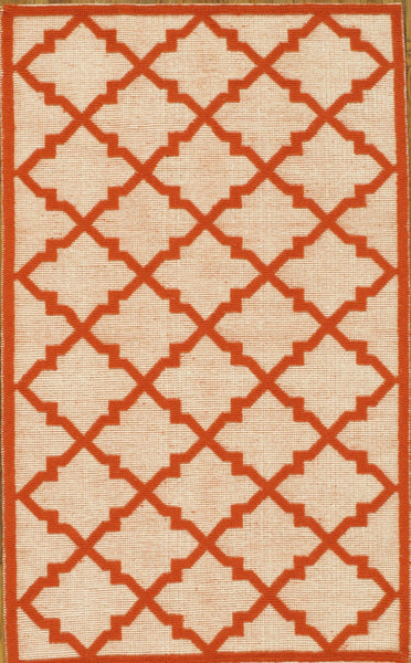 Hand-Woven Kilim Beige/Red Lamb's Wool Rug