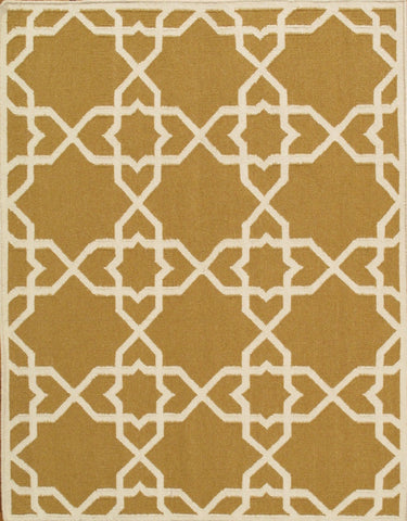 Hand-Woven Kilim Gold Lamb's Wool Area Rug