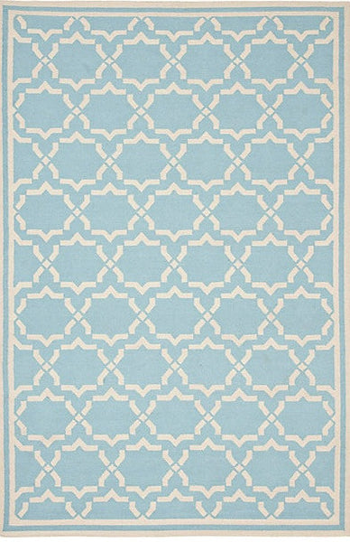 Hand-Woven Kilim Light Blue Wool Area Rug
