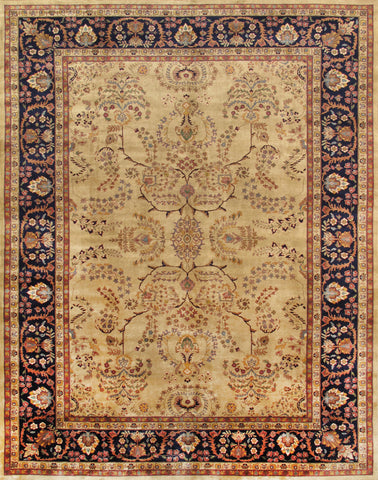 Hand-Knotted Ivory Sarouk Lamb's Wool Area Rug