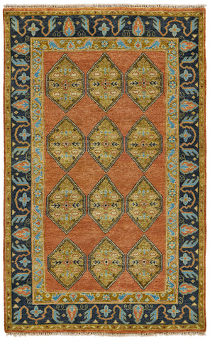 Alden Rust/Charcoal Hand Knotted Area Rug
