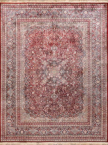 Kashan Hand-Knotted Silk Area Rug