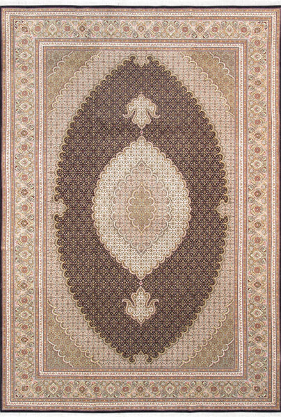 Hand-Knotted Tabriz Silk & Wool Area Rug