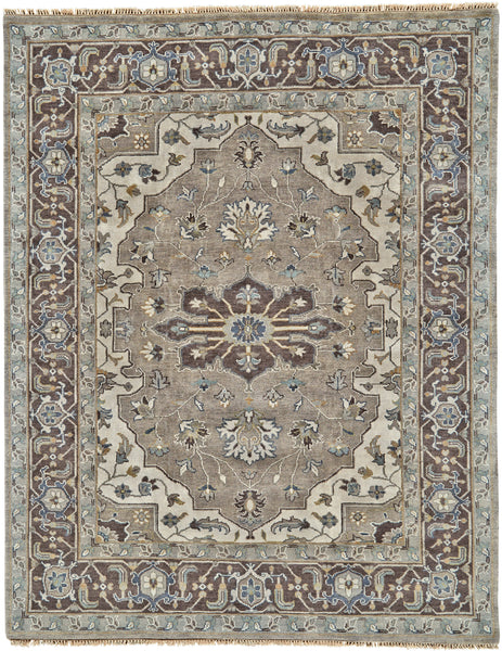 Alden Ivory/Walnut Hand Knotted Area Rug