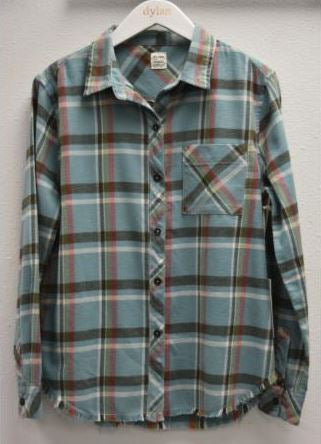 Dylan Tahoe Plaid Vintage Pocket Shirt Aqua