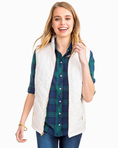 Southern Tide Quilted Vest White Alyssum