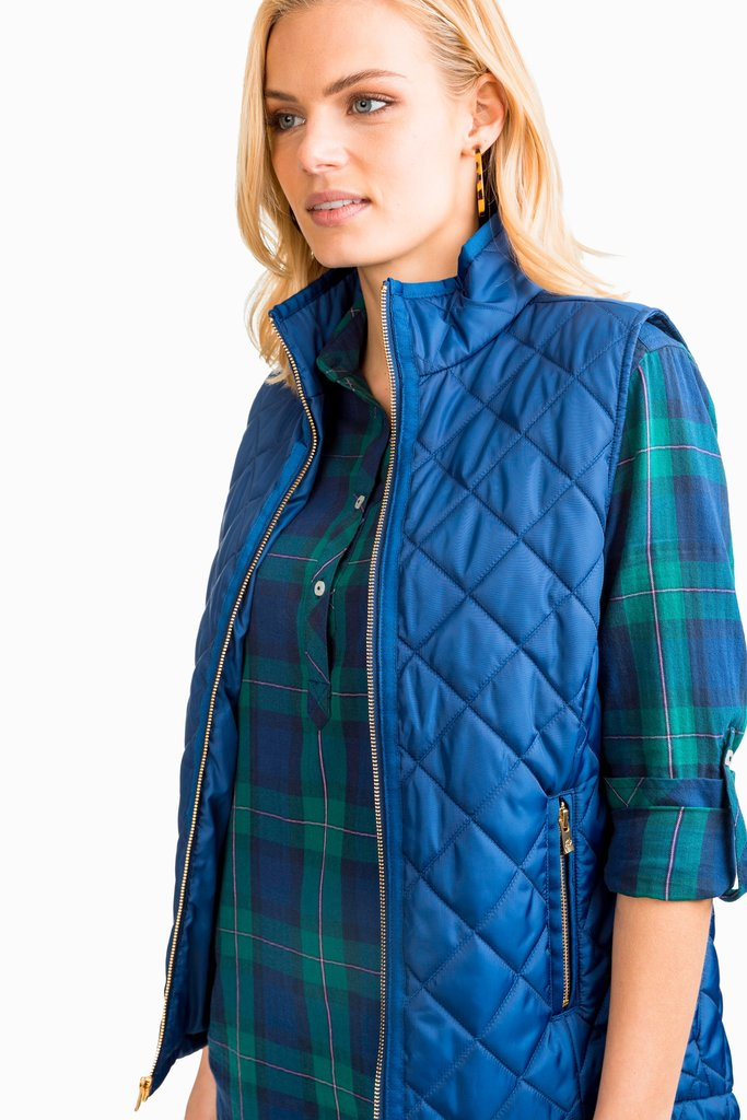 Southern Tide Quilted Vest Blue Night