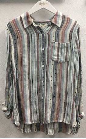Dylan Lux Slub Stripe Shirt Multi