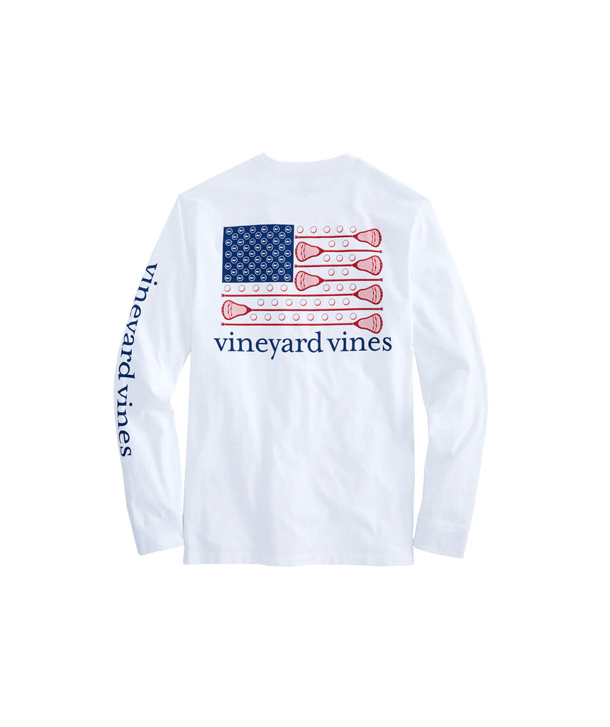 Vineyard Vines Long-Sleeve Lacrosse Flag Pocket T-Shirt White Cap