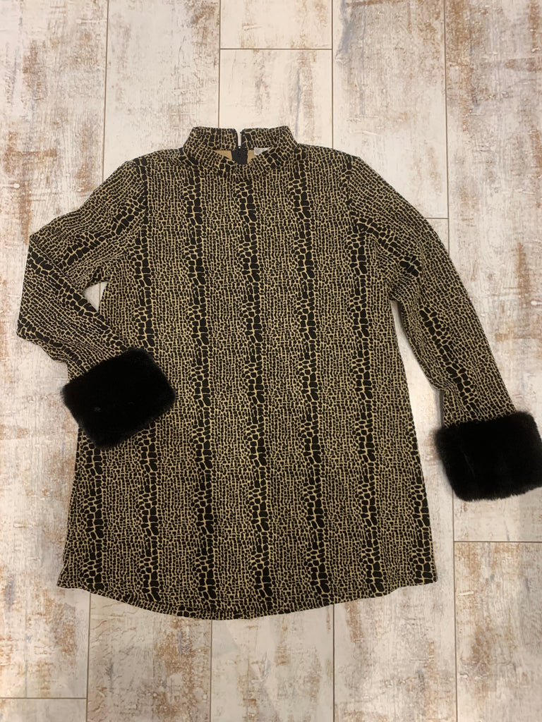 Tyler Boe Karina Jacquard Tunic With Fur Sleeve Snake Black/Beige