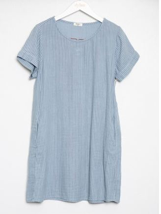 Dylan Pinstripe Short Sleeve Dress With Pockets Denim