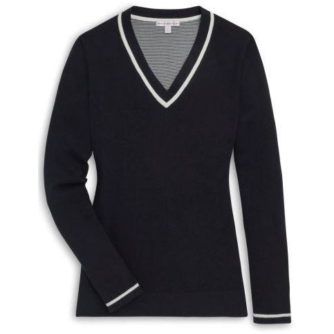 Peter Millar Tipped V-Neck Sweater Black