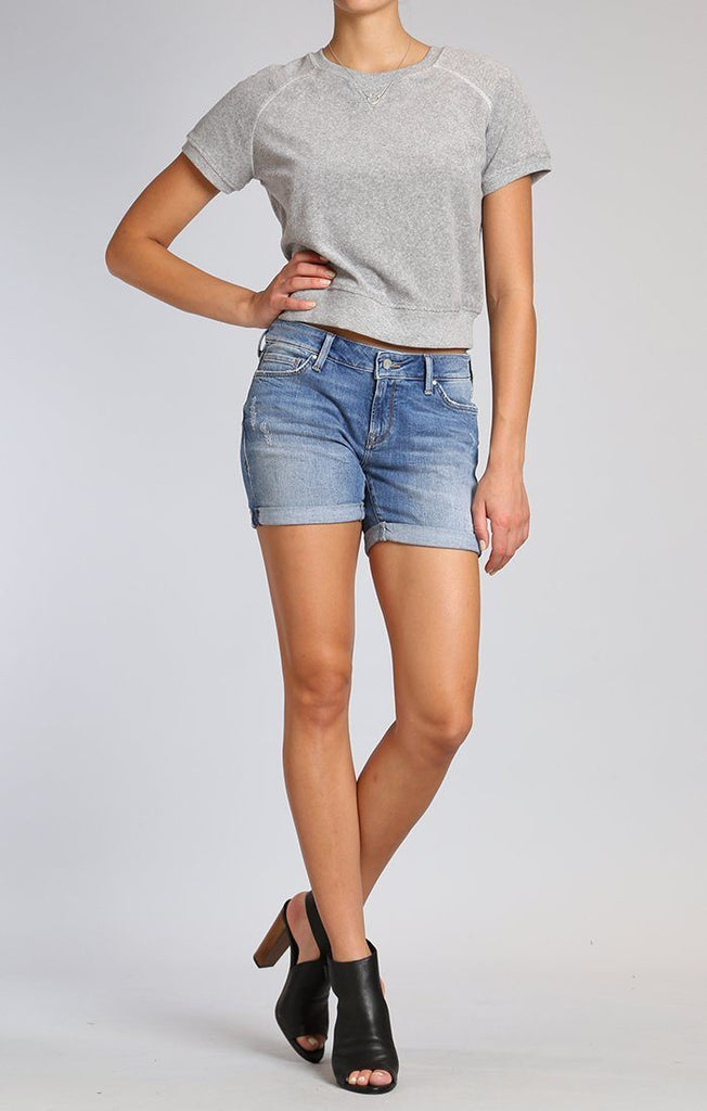 Mavi Pixie Shorts In LT Distressed Denim