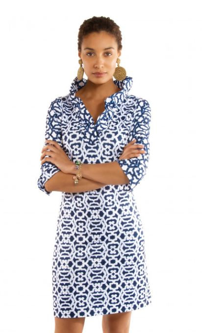 Gretchen Scott Blues Jersey Ruffneck Dress Rio Gio