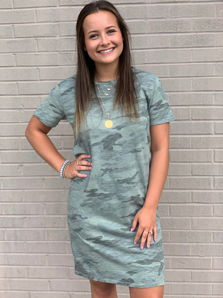 Dylan Camo Crew T-Shirt Dress Coastal Sage