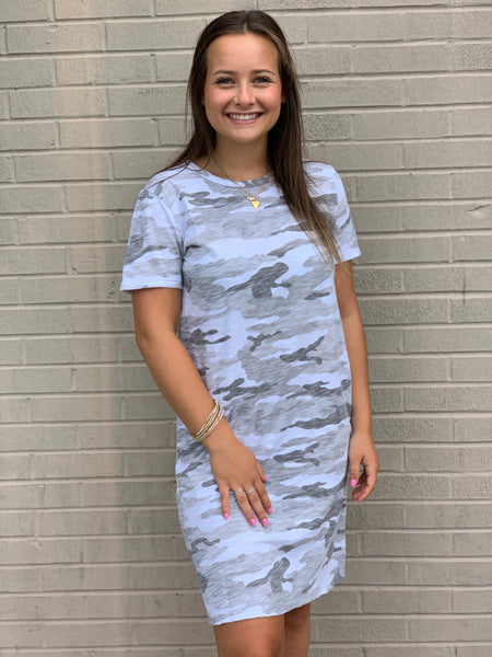 Dylan Camo Crew T-Shirt Dress White