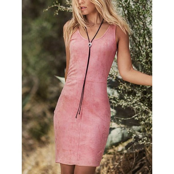 ASTARS Justine Vegan Leather Dress Rose Suede