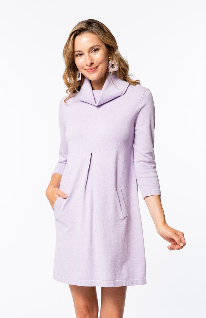 Tyler Boe Kim Cotton/Cashmere Dress Pink Amethyst