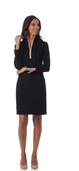 Jude Connally Anna Ponte Knit Dress Black/Camel
