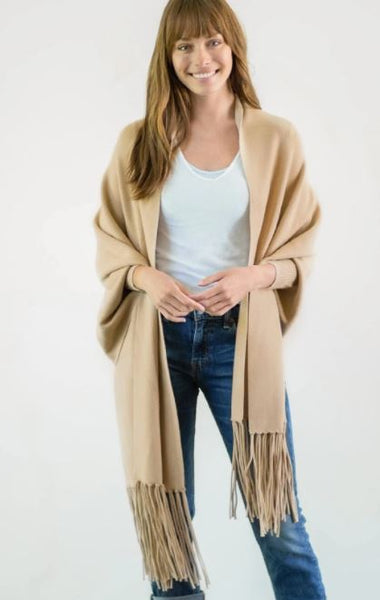 Mersea The Anywear Wrap with Sleeves Camel